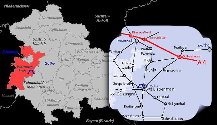 Lage der Altensteiner Höhle in Thüringen